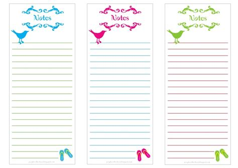 printable notepad birdie notes