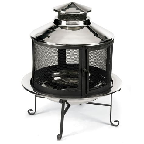 the stainless steel firepit grill chimney hammacher