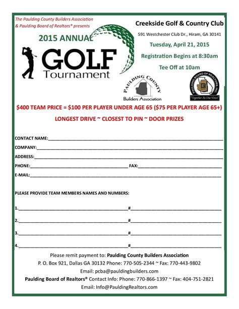 golf tournament registration template 2015 annual golf tournament presented by paulding board