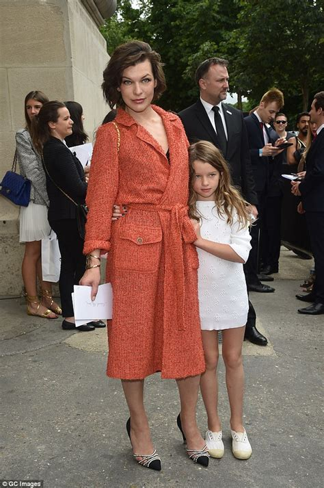 milla jovovich daughter milla jovovich cuts a classy figure in a red knitted dress