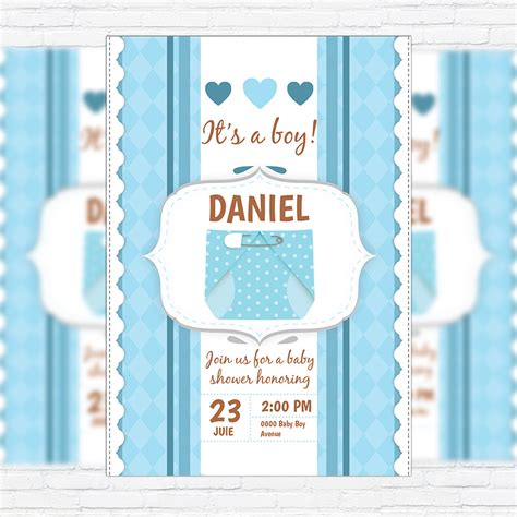 template baby shower psd baby shower for boy premium business flyer psd template