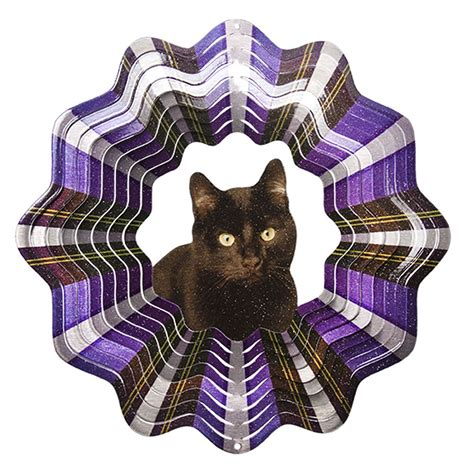 cat windsock iron stop d451 6 solid black cat wind spinner