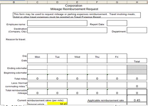 excel spreadsheets help mileage reimbursement template