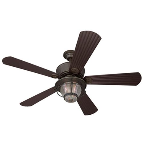 Patio Ceiling Fans With Lights Shop Harbor 52 In Merrimack Gilded Bronze Outdoor Ceiling Fan With Light Kit At Lowes