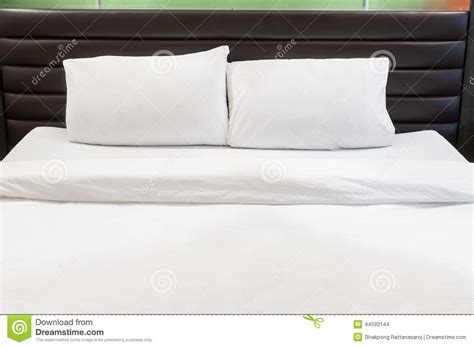 white bed pillows two pillows on bed stock photo image of domestic room