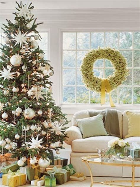 interior epic picture of living room decoration using gold silver bauble christmas tree decor