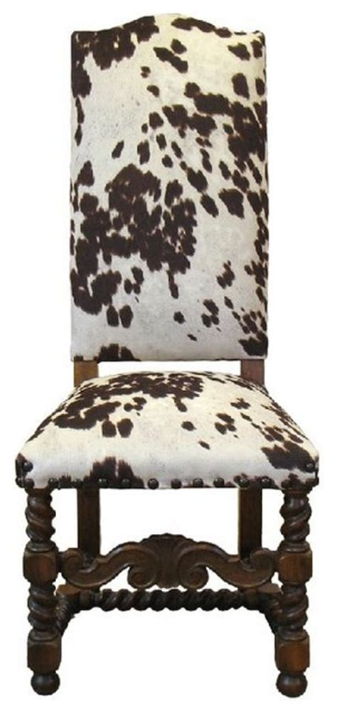 Faux Cowhide Furniture - faux cow hide chair rustic dining chairs by boulder