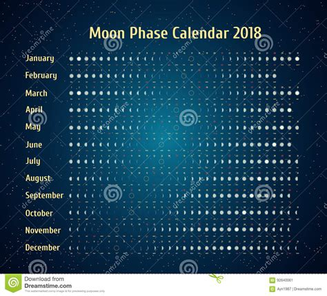 Calendrier 2018 Glow Vector Astrological Calendar For 2018 Moon Phase Calendar