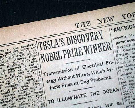The And Times Of Nikola Tesla Nikola Tesla Edison Nobel Prize 1915 Newspaper