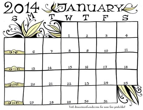 free printable monthly calendar january 2014 hand drawn