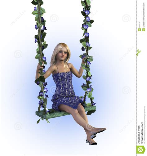 girl in a swing girl on a floral swing with clipping path stock
