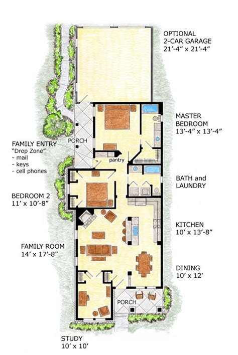 Floor Plans For Narrow Lots | farmhouse plans narrow lot house plans