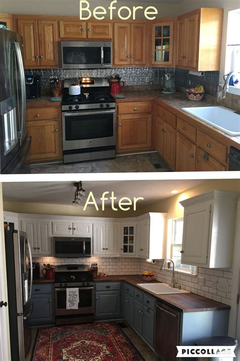 Can You Paint Kitchen Cabinets Two Colors In A Small Kitchen The Decorologist Two Toned Cabinets Valspar Cabinet Enamel From Lowes Successful Kitchen Updating Best