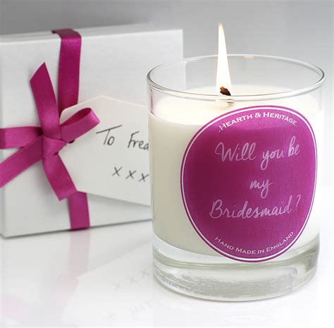 Candle Gifts Personalised Bridesmaid Scented Candle Gift By Hearth