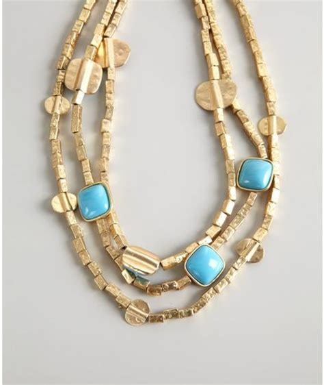 Kenneth Lanes Lipstick Necklace At Outfitters by Kenneth Gold And Turquoise Three Strand Necklace