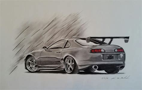 toyota supra drawing toyota supra drawing by aaron bertrand