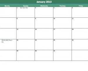 Blank Calendar Template Monday Through Friday by 2013 School Calendar Template