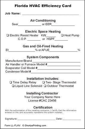 Hvac Efficiency Card Template florida hvac certificate