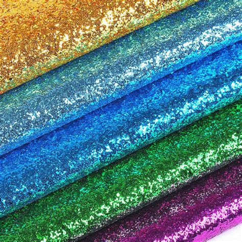100x135cm sequins chunky glitter vinyl fabric for wedding