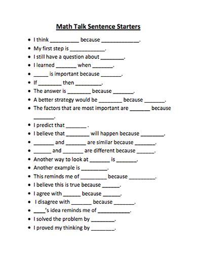 sentence patterns middle school here s a list of math talk sentence starters math talk