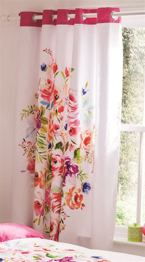 Floral Lined Curtains Floral Curtains Eyelet Ring Top Fully Lined Ready Made Catherine Lansfield Ebay
