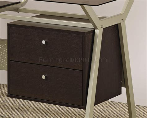 Metal Base Smoked Glass Modern Home Office Desk W Two Modern Glass Desk With Drawers
