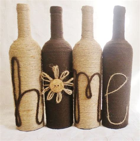 rustic home decor four wine bottle set home decor rustic free shipping yarn and twine wrapped wine bottles home