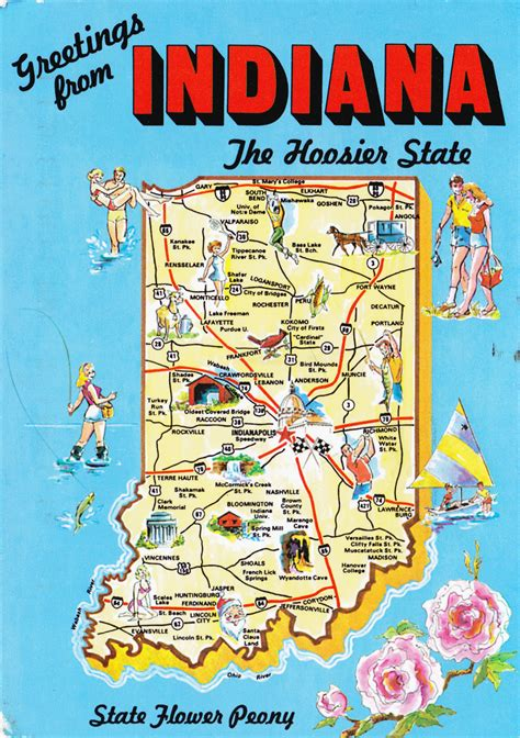 attractions in map large detailed tourist illustrated map of indiana state