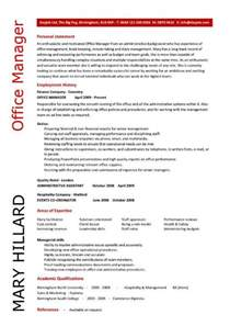 Resume Exles For Managers by Office Manager Cv Sle