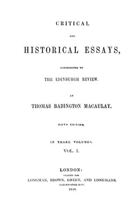 critical  historical essays contributed   edinburgh review  vols  library