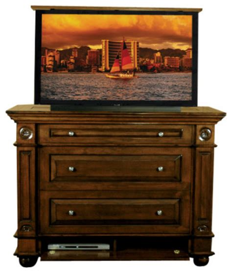 Bedroom Tv Lift Furniture Andaluz Dresser Tv Lift Cabinet 120 Us Made Tv Lift