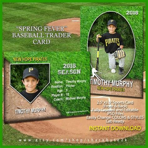 Baseball Sports Trader Card Template For Photoshop Spring Baseball Card Template Photoshop