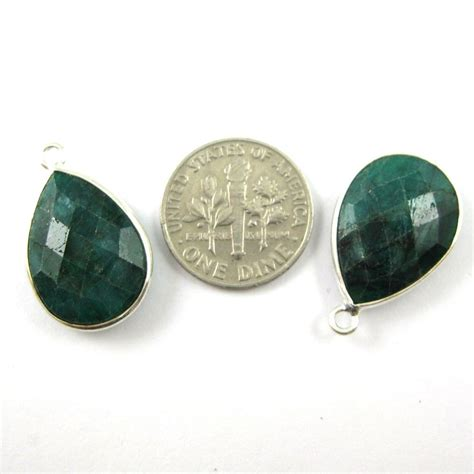 Emerald Gemstone Of May 2 by Bezel Gem Pendant Sterling Silver 13x18mm Faceted Pear
