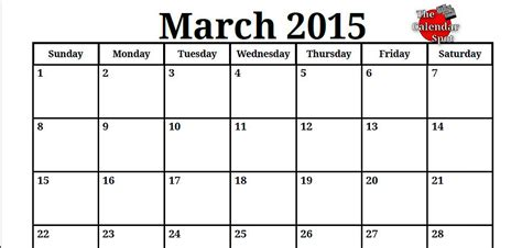 Calendar March 2015 Printable 9 Best Images Of Blank March 2015 Calendar Printable