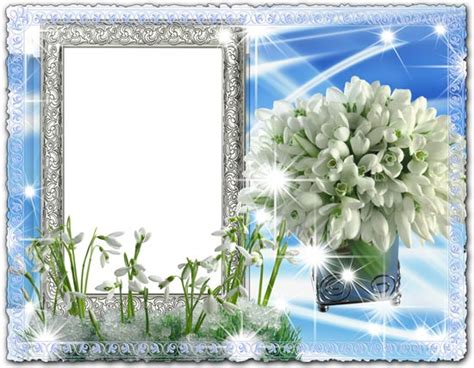 best frame delicate snowdrops psd photo frame