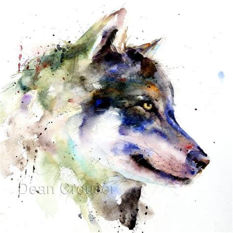 tutorial watercolor tattoo wolf large watercolor print by dean crouser por