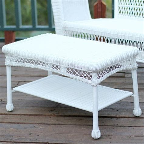 White Wicker Patio Table Jeco Wicker Patio Furniture Coffee Table In White W00206 T