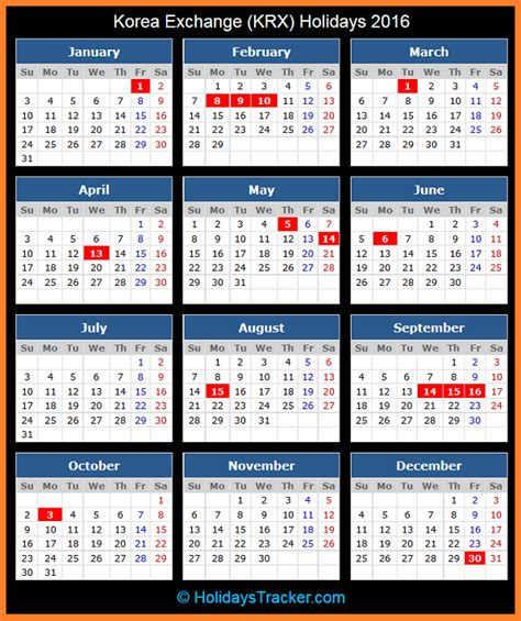 printable korean calendar 2015 korea exchange krx holidays 2016 holidays tracker