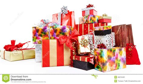 christmas gifts a pile of christmas gifts in colorful wrapping stock image