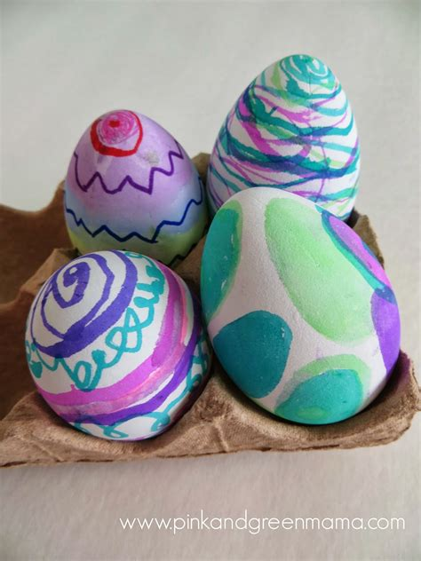 egg decorating pink and green creative challenge easter eggs mess free egg decorating with