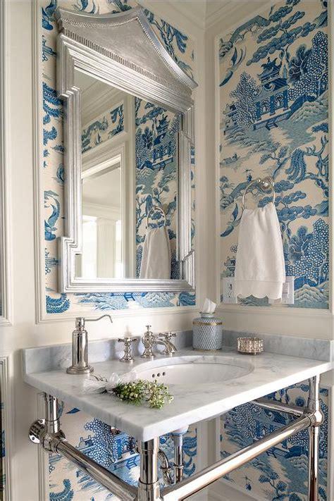 wallpaper blue bathroom white and blue chinoiserie powder room design ideas