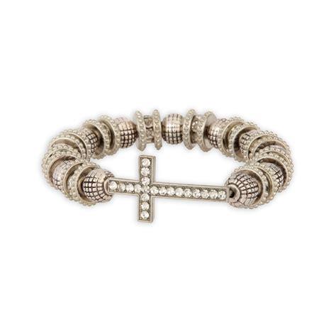 studio s s beaded cross bracelet silvertone