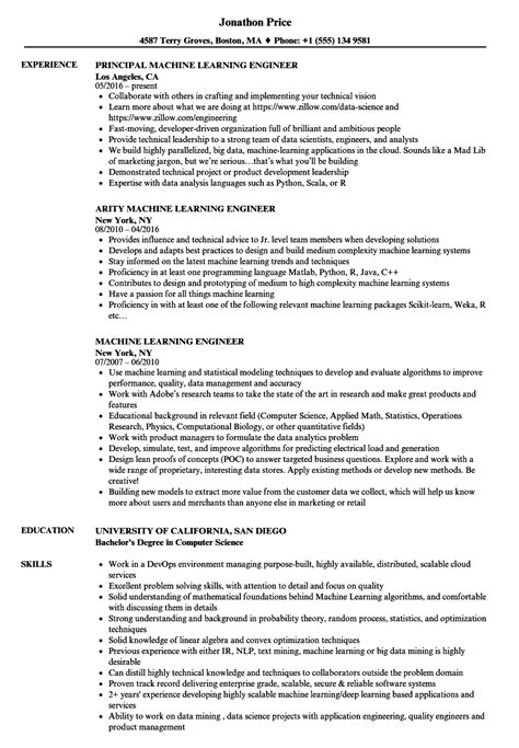 Machine Learning Resume machine learning engineer resume sles velvet