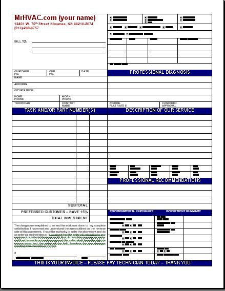 Hvac Invoice Template Free To Do List Ac Service Contract Template