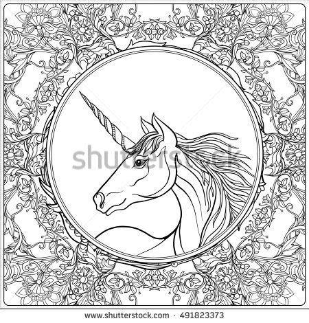 unicorn mandala coloring pages unicorn in vintage decorative floral mandala frame vector