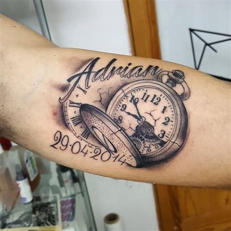 black and grey broken pocket watch tattoo design