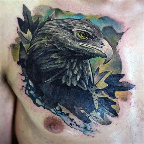 watercolor tattoo eagle 80 eagle chest designs for manly ink ideas