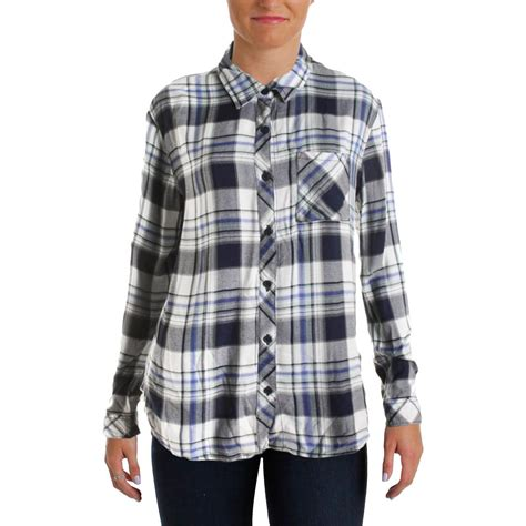 Beachlunchlounge Flannel by Lunch Lounge 4680 Womens Leigh Plaid Flannel Button