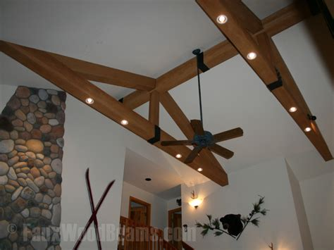 How To Install Decorative Ceiling Beams by Faux Beam Straps Faux Wood Workshop