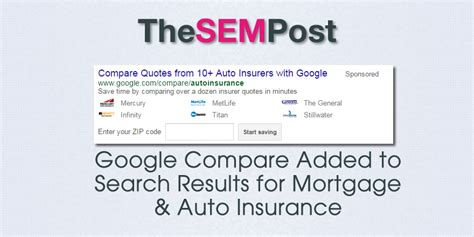 Mortgage & Auto Insurance Comparisons in Google Search Results